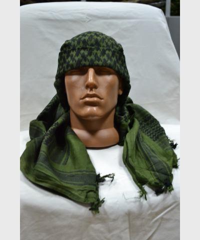 "Платок арафатка  черно-зеленый, с бахромой,  ""Max Fuchs AG"", новый, размер 115х110 см"